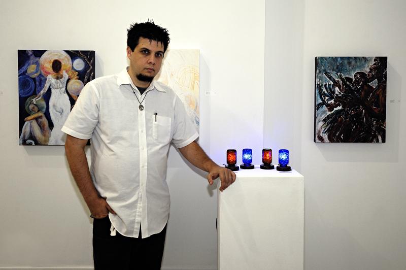 Robert Ransonm with light sculptures.
