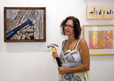 Lori with work by Rhonda.